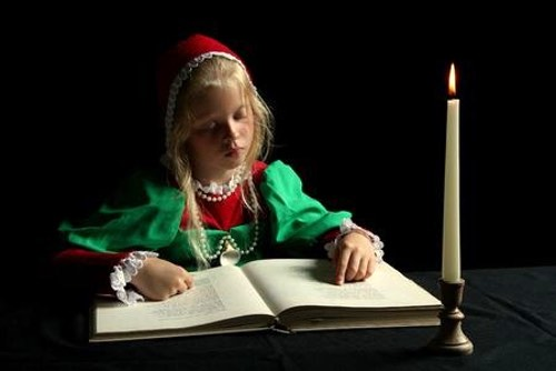Young Renaissance Girl Consulting a Dessert Recipes Glossary