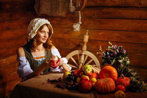 Renaissance Girl Preparing Fruit and Vegetables for Baking