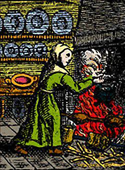 Colored Illustration of Renaissance Cook at the Hearth