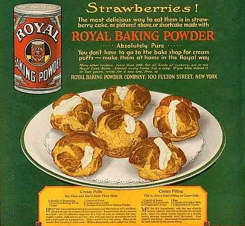 1919 Royal Baking Powder Ad with Cream Puffs Recipe