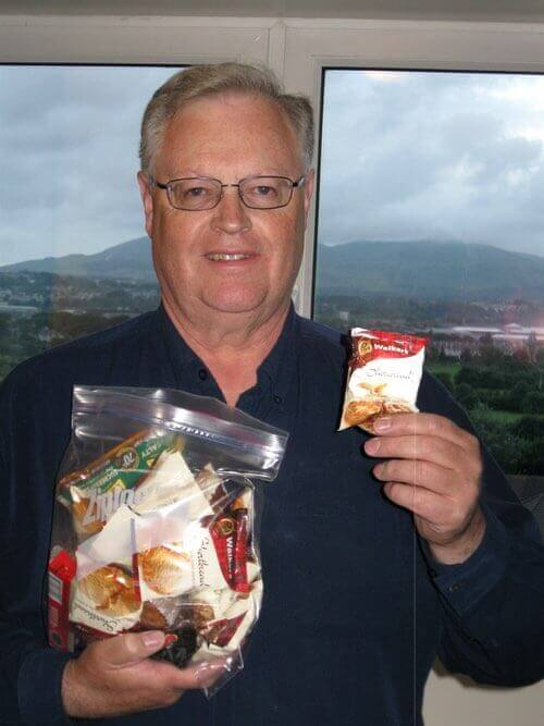 Don Bell Enjoying Scottish Shortbread Cookies While Visiting Edinburgh, Scotland