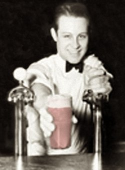 Old Fashioned Soda Jerk Serving a Fountain Beverage