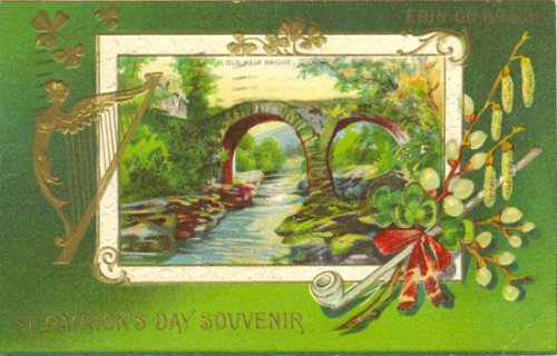 Vintage St Patrick's Day Souvenir Greeting Card circa 1912