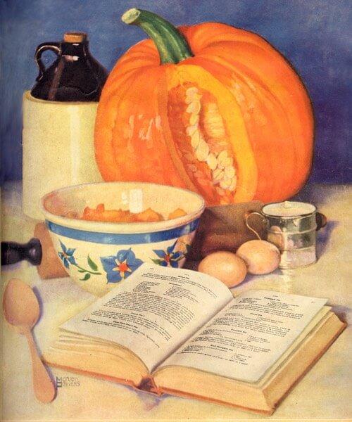 Vintage Illustration of Pumpkin Pie Making Ingredients and Recipe Book