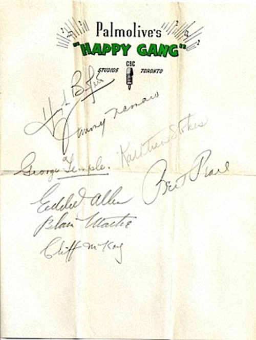 The Happy Gang Old Time Radio Program Star Autographs