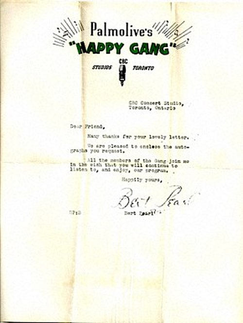 The Happy Gang Old Time Radio Program Letter