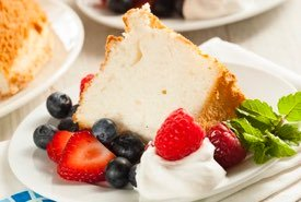 Angel Food Cake with a Cut Slice