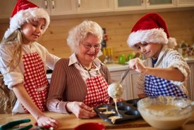 Grandma and the Kids Baking for Christmas