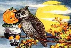 Vintage Halloween Illustration of a Pumpkin Child and an Owl on a Branch