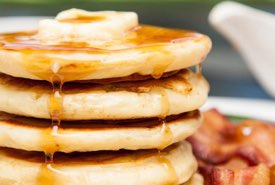 Stack of Homemade Pancakes with Syrup