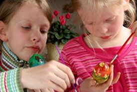 Kids Decorating Easter Eggs