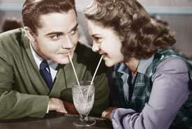 Young Couple Sharing an Ice Cream Shake