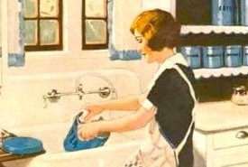 Lady Cleaning a Vintage Sink