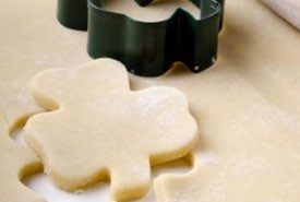 Cookie Dough Cut in Shamrock Shapes