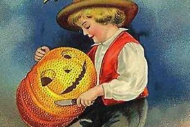 Vintage Illustration of Young Boy Carving a Pumpkin