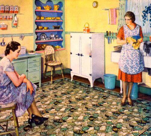 Two Ladies Conversing in a Vintage Farmhouse Kitchen