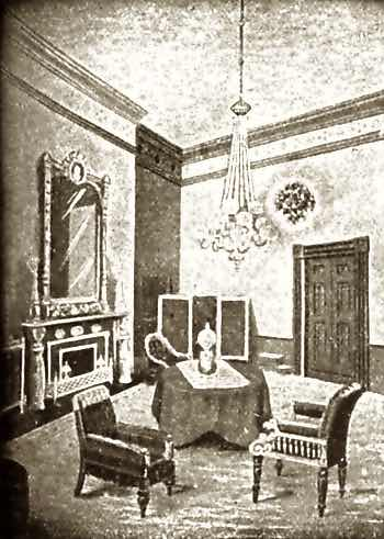 Illustration of Red Room at the White House, Washington DC, Circa 1900