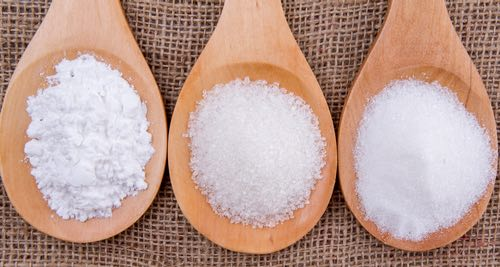 Three Types of White Sugar - Confectioners, Granular, and Castor