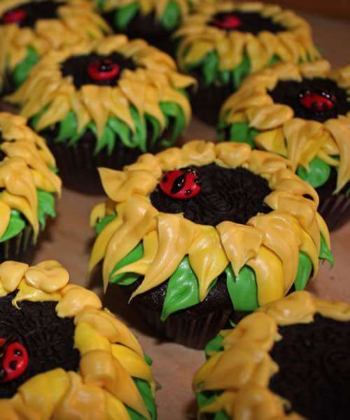 Yellow Sunflower Topped Cupcakes